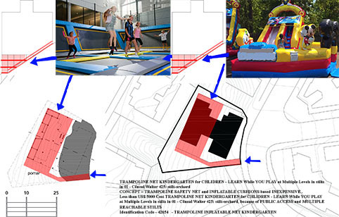 TRAMPOLINE NET KINDERGARTEN for CHLIDREN - LEARN While YOU PLAY at Multiple Levels in stilts in 01 - Cônsul Walter 425: stilt-orchard PUBLIC ACCESS – YES – MAINLY CHILDRENS PAY and PLAY PARK - ACCESS